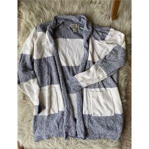 Warm Blue and White Stripe Loft Cardigan